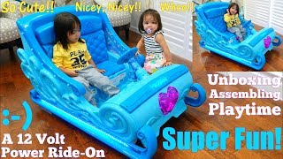 Disney Frozen 2 Toys: 12 Volts Disney Frozen Sleigh Ride-On Power Wheels Unboxing and Playtime