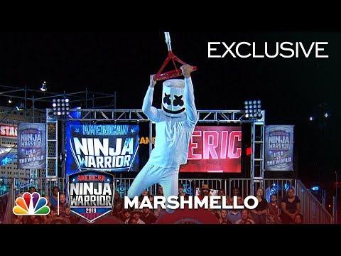 Marshmello Runs Stage 1 at the Las Vegas National Finals American Ninja Warrior 2018 Exclusive