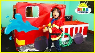 Ryan Pretend Play with Fire Truck Box Fort