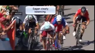 SLow Motion crash Peter Sagan / Mark Cavendish Tour de France 2017