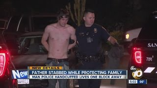 Father stabbed while protecting family