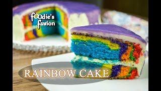 চুলায় রেইনবো কেক তৈরীর রেসিপি | Rainbow Cake Recipe Bangla | Chulay Easy Rainbow Cake