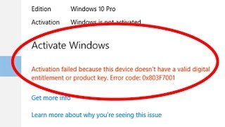 How to fix windows 10 activation failed with error code 0x803f7001