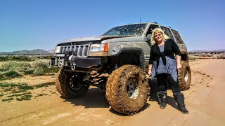 """Jeep Grand cherokee ZJ on 36"""" Super Swampers Long Arms Single Chamber Exhaust Start Rev Mud Fun"""