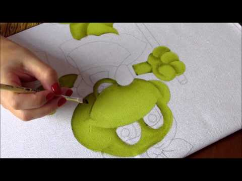 Pintura em Tecido Sapinha secretária do lar Parte 1 Artes Mariana Santos