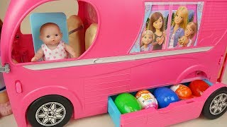 Pink bus surprise eggs and baby doll picnic toys play