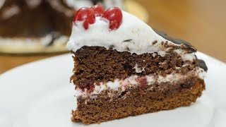 EGGLESS BLACK FOREST CAKE RECIPE I Without Oven