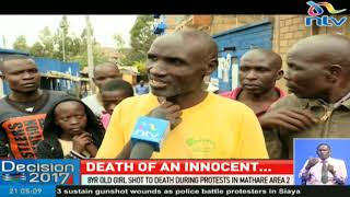 8 year old girl shot to death during protests in Mathare area 2
