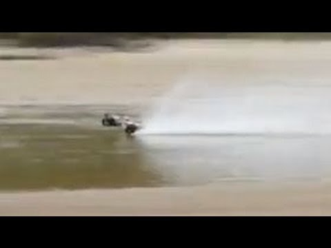 BRUSHLESS RC CAR WHEELIES ON WATER!!! EXTREAM 3s LIPO TRAXXAS RUSTLER SUPER FAST SAND Hydroplanes