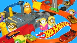 HOT WHEELS SPIN STORM MINIONS CRASH RACE TRACK MYSTERY CARS RACING