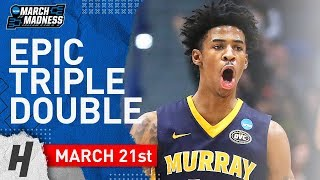 Ja Morant EPIC Triple-Double Full Highlights vs Marquette 2019.03.21 - 17 Pts, 11 Reb, 16 Ast