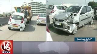 5 Cars Met With An Accident On Telugu Talli Flyover | Hyderabad | V6 News