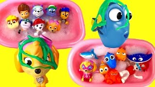 PAW PATROL & FINDING DORY Bath Toys! Paddling Pups, Squirters, Paint and Soap Surprise!