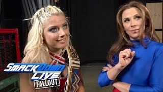 Alexa Bliss and Mickie James smirk at the competition: SmackDown LIVE Fallout, Jan. 17, 2017
