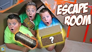 24 Hours Giant Box Fort Mystery Escape Room Surprise!