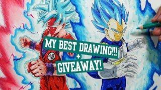SPECIAL + GIVEAWAY: Drawing GOKU and VEGETA! Super Saiyan Blue Kaioken + Beyond Super Saiyan Blue!