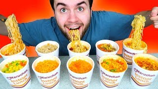 TRYING EVERY CUP OF RAMEN NOODLES! - Flamin' Hot Spicy Noodles Taste Test Challenge!
