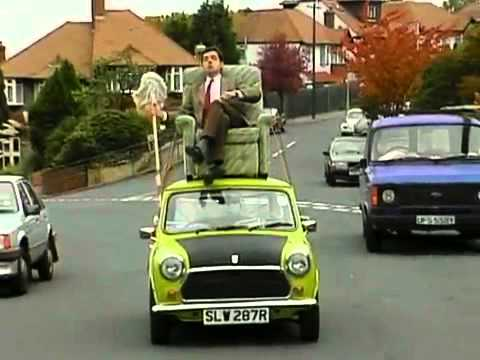 Mr. Bean Video - Mr. Bean driving on roof of a car