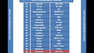 IELTS  : English Hindi Vocabulary Part 1
