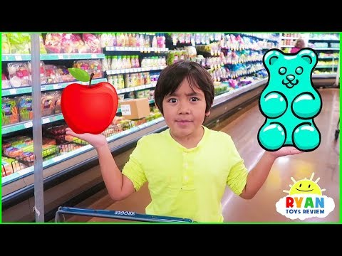 Ryan with Kids Size Shopping Cart Learn Healthy Food Choices