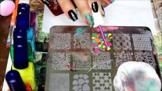 nail stamping: multi color stamping design w/ myonline shop plate