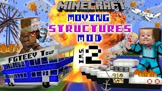 MINECRAFT MOVING STRUCTURES! Bus, Boat, Plane, Movie Theater | Instant Massive Structures 2 Mod