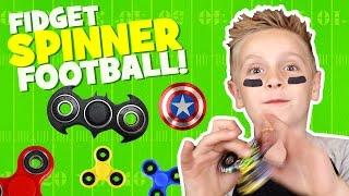 Fidget Spinner Football Game! DIY Spinner Challenge w/ Dad & Kids