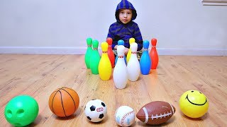 Learn Different Sport Ball Names with Color Bowling Pins for Children