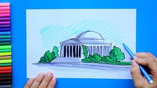 How to draw and color Jefferson Memorial, Washington D.C.