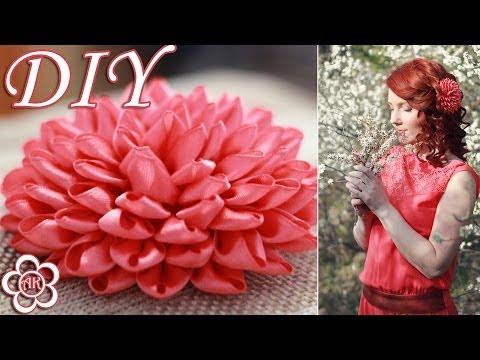 """Канзаши мастер-класс. Композиция """"Нежность"""" из Хризантем. Ч.2/Сomposition of Chrysanthemums. Part 2. - VidoEmo - Emotional Video"""
