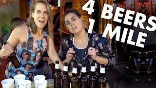 2 Girls Do a Beer Mile (IN PUBLIC in Selfie Suits) ft. Sarah Croce