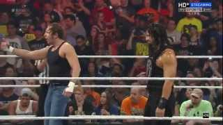 WWE raw 25 aug 2015  Roman Reigns & Dean Ambrose V/S Luke Harper & Bray Wyatt AND A NEW ENTRY