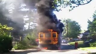 Driver saves 20 kids from burning school bus
