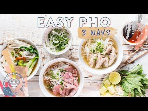Easy PHO 3 Ways! Beef, Chicken, Veggie - Honeysuckle