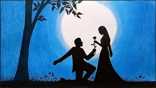 How to draw scenery of moonlit night with romantic love step by step