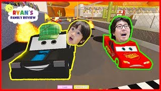 Disney Cars 3 Save Lightning McQueen Roblox Obby!! with Ryan
