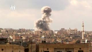 مشاهد مصوّرة من أحياء درعا البلد اليوم تُظهرعشرات الغارات الجوية من الطائرات الروسية والبراميل