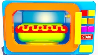 Teach Colors for Children to Learn with Microwave and Hot Dog