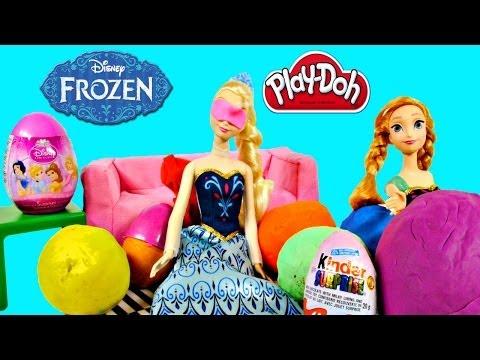 Frozen Easter Egg Hunt PLAY DOH Kinder Surprise Eggs Starring Disney Frozen Anna and Elsa