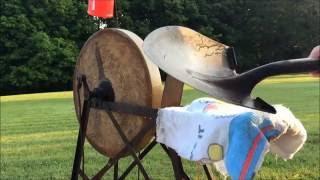 Sharpening a Hoe and Shovel - Treadle Grindstone