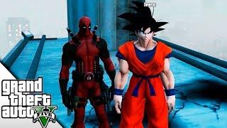 GTA V ONLINE MODS! GOKU VS DEADPOOL! | BraxXter