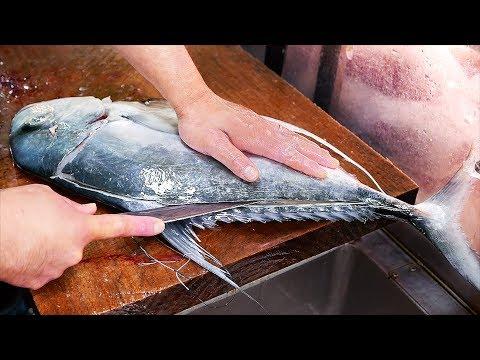 Japanese Street Food - GIANT MACKEREL Okinawa Seafood Japan