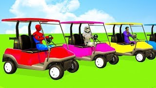 LEARN COLORS w Fun Cars and SPIDERMAN Superhero 3D - Animation Cartoon for kids