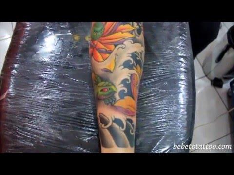 Bebeto Tattoo Tatuagem de tartaruga oriental Oriental Turtle Tattoo on leg Ricardo