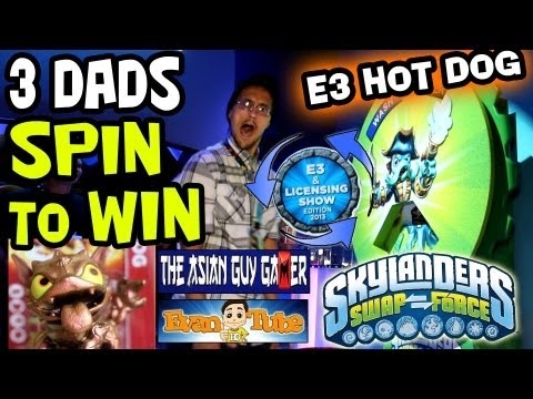E3 Hot Dog 3 Dads Spin to Win Skylanders SwapForce booth Asian Guy Gamer EvanTubeHD