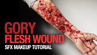 Gory flesh wound special fx makeup tutorial