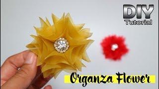 DIY - Tutorial Organza Fabric Flower 02 | Simple For Beginners | Bunga serut dari kain kaca