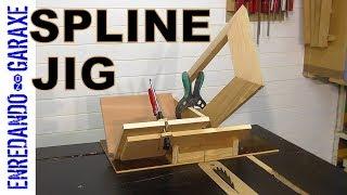 Table saw spline miter jig
