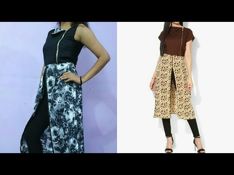 How to make front slit kurti with beautiful zipper neck  Front slit kurti easy tutorial