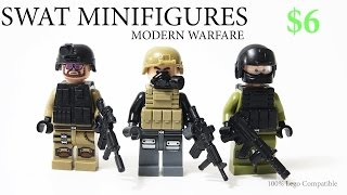 Lego MODERN WARFARE SWAT Team army minifigure Toy w/ brickarms guns Knockoff from China  - Review